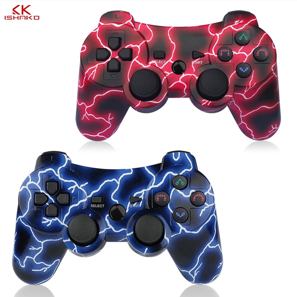 أفضل Seling 2 حزمة لاسلكية 6-axis صدمة مزدوجة الألعاب تحكم لسوني بلاي ستيشن 3 كابل شحن اللون الأزرق والأحمر 2 حزمة