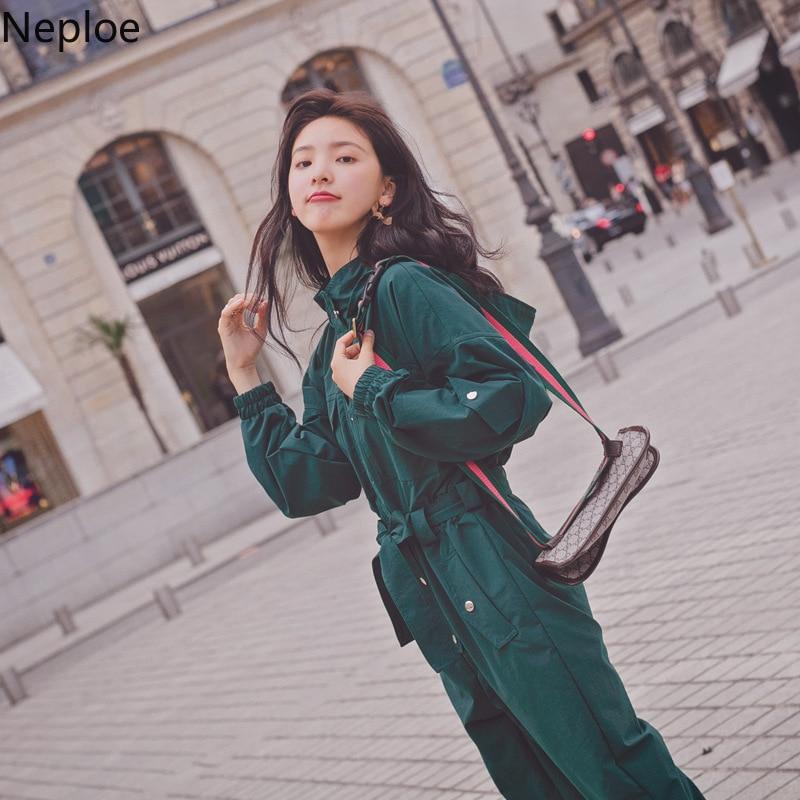 Neploe Bodysuits Women Spring 2020 New Single Breated Long Sleeve Jumpsuit Korean High Waist Hooded Playsuit 43442