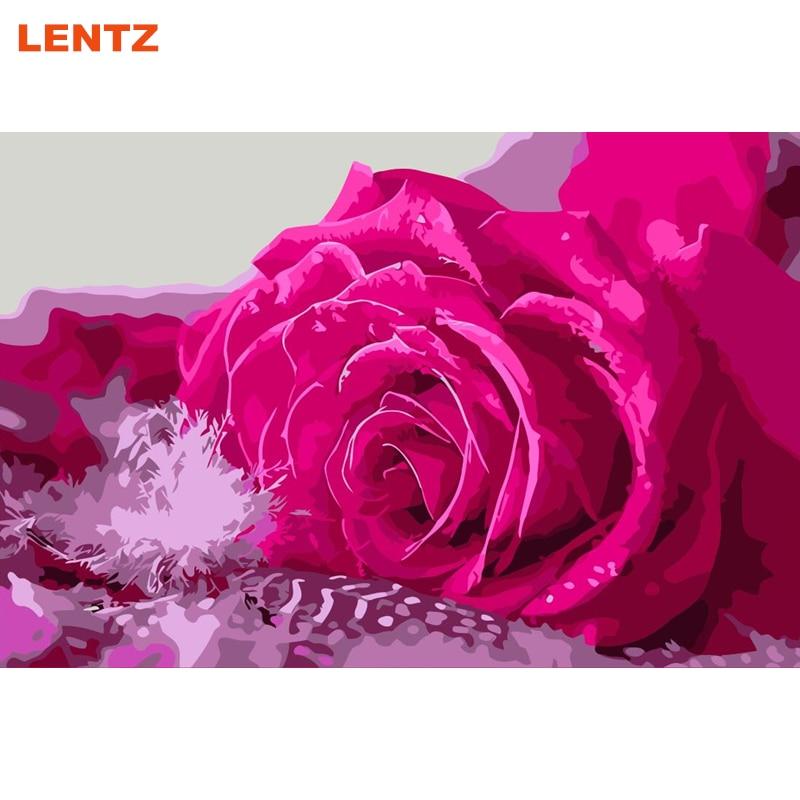 Cuadro de flores rosas por números cuadro bonito cuadro láminas de manualidades con pintura por números decoración de sala de estar diseño de pared 40X50cm