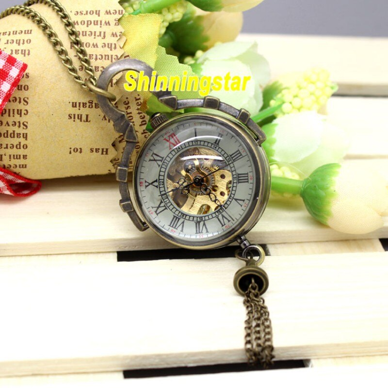 Steampunk relógio de bolso mecânico do vintage bronze fob bolso relógio de vidro bola numeral romano mini relogio mecanicas 2020