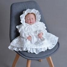 Baby Kleding Baby Meisjes Lange Mouw Retro Petal Revers Satin Lace Jurk + Hoed Peuter Meisjes Doop Kleding Verjaardag Kleding