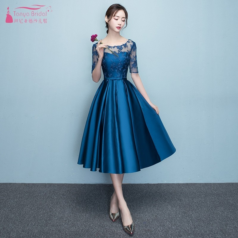 A Line Half Sleeve Lace Satin Bridesaid Dresses Blue Wedding Guest Dress Tea Length For Wedding Party Maid Of Honor Dresses JQ26