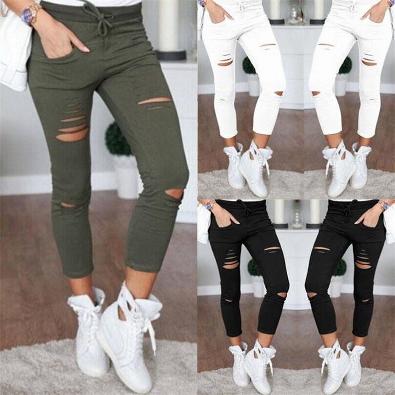 VISNXGI Plus Size Summer Hole Ripped Jeans Women Jeggings Cool Denim High Waist Skinny Jeans Pants Pencil Trousers Black New