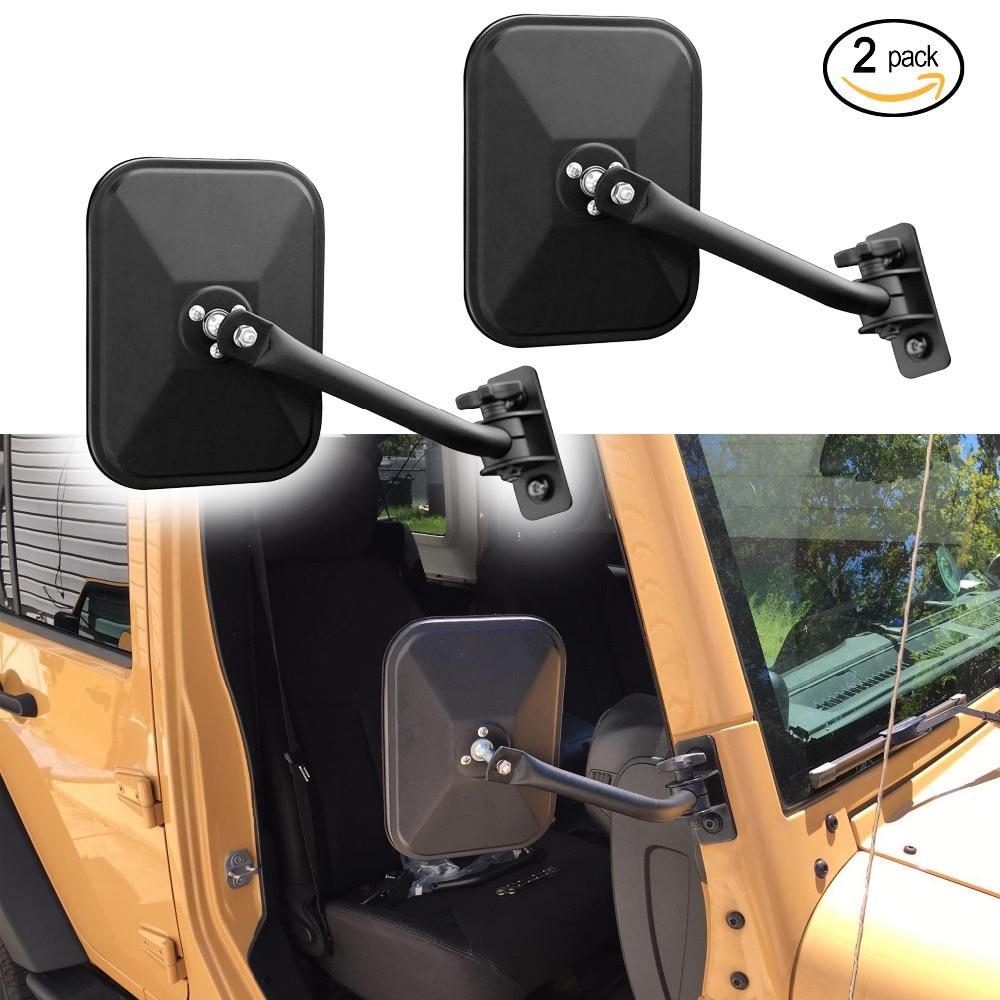 IZTOSS Door Off Side View Mirror Rectangular Mirrors fit for 1997-2018 Jeep Wrangler TJ JK JKU Textured Black(one pair)