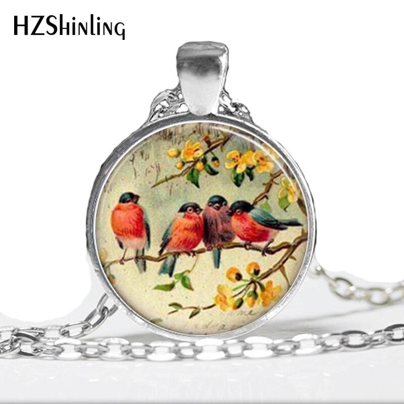 Collar de moda para mujer 2014, collar de vidrio para pájaros, collar de mosaico de vidrio rojo Robin Bird, colgante HZ1