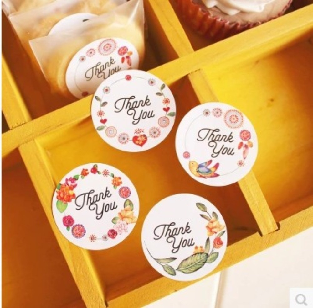 120 Uds flores redondas gracias hecho a mano pastel embalaje sellado etiqueta pegatina hornear pegatinas de regalo de manualidades