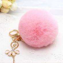 Pompom 100% Real Rabbit fur Ball Keychain Fashion Dancing Angel Rhinestone Fluff Key Chains Bag Charms Trinket Car Key Ring Gift