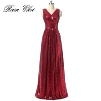 sequin evening dresses 2021 v neck long party dress cheap formal prom gown