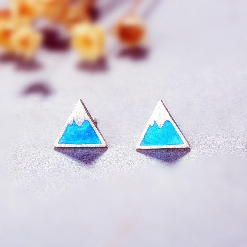 Fuji Berg blau glasur Tibetischen splitter mädchen kleine stud ohrringe frauen mode designer dreieck ohrringe jwelry für frauen