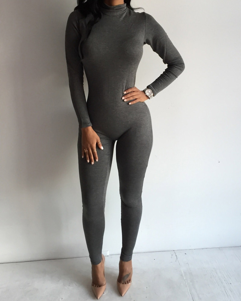 Sexy Black Rompers and Jumpsuits 2020 Hot Women Long Sleeve Bodycon Jumpsuit Sexy Gray Back Zipper Night Club Party Overalls