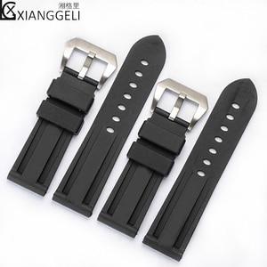 Аксессуары для часов резиновый ремешок 22 мм 24 мм 26 мм Пряжка для Panerai мужской водонепроницаемый Повседневный Модный черный силиконовый для часов Ремешок