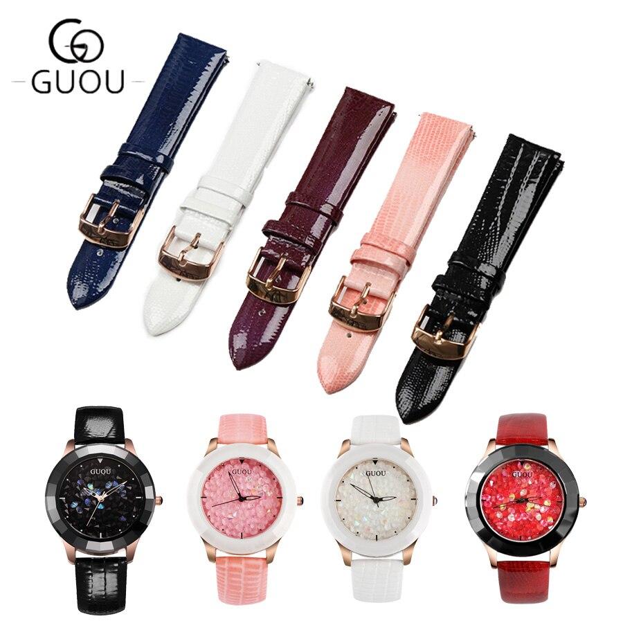 GUOU 100% correa de reloj Original de cuero genuino