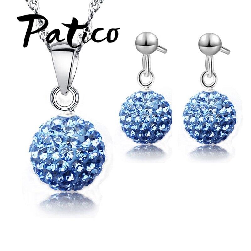 Austrian pave disco bola parafuso prisioneiro 925 prata esterlina brinco pingente colar áustria cristal mulher conjuntos de jóias novo