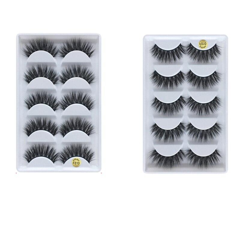 5par/caja 3D natural largo visón pestañas postizas extensión pestañas para maquillaje pestañas F810
