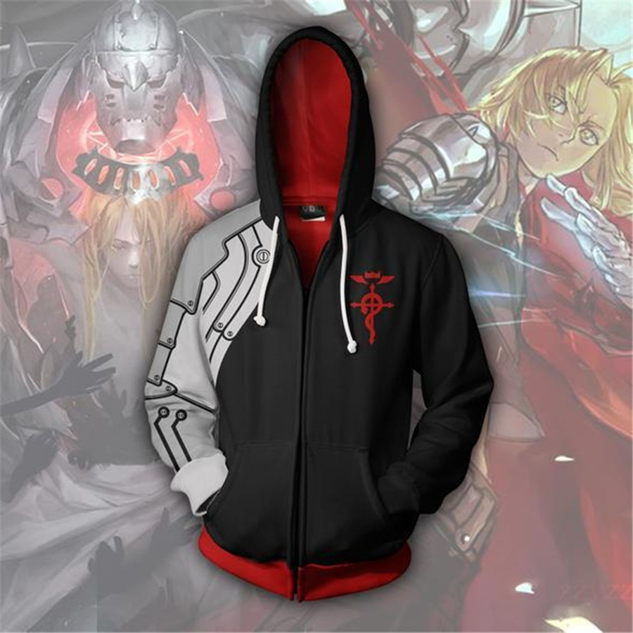 Fullmetal Alchemist Cosplay disfraz Edward Elric Cosplay Anime Sudadera con capucha hombres mujer ropa cremallera chaquetas