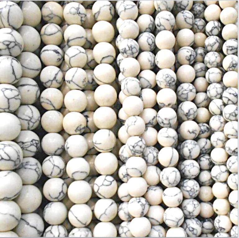 Бесплатная доставка натуральный камень белый Howlite Круглые бусины 3 4 6 8 10 12 мм выбрать размер для ювелирных изделий