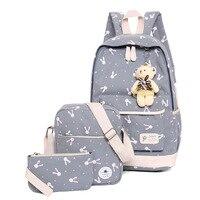 3pcs/set Printing School Bags Women Backpack Schoolbag Fashion Kids Lovely Backpacks For Children Girls School Student Mochila