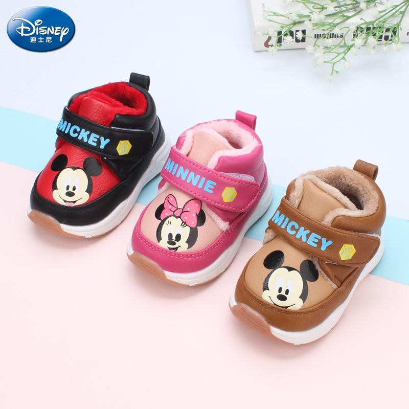 2018 invierno nuevo Disney zapatos de algodón para niños 1-3 años Niño al aire libre antideslizante más terciopelo grueso niñas zapatos de algodón