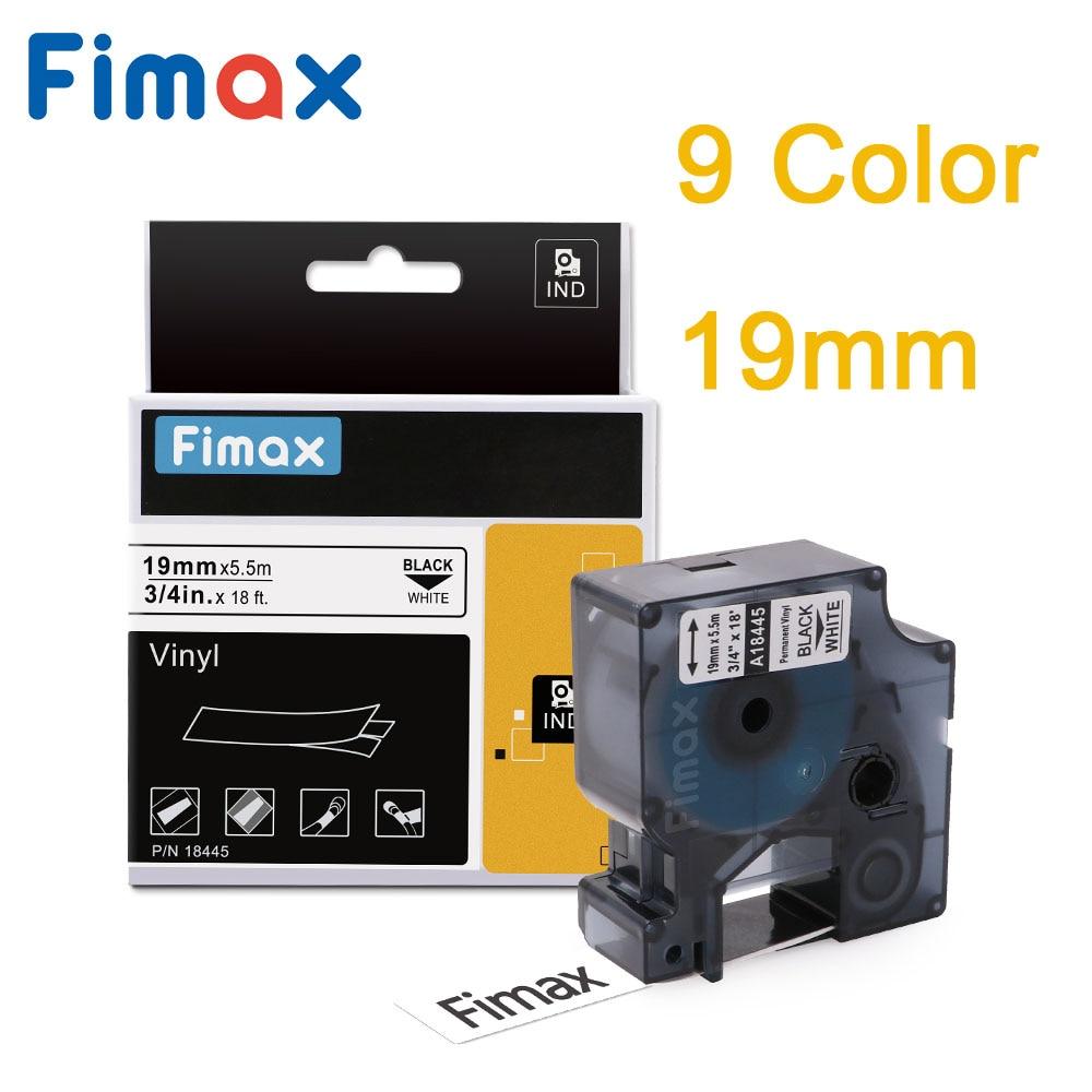 Fimax виниловая этикетка DYMO Rhino IND, 1 шт., 18445, 18433, 19 мм, черная, белая, совместима с Dymo, 18439, 18442, 18436, 1805422, производитель этикеток DYMO