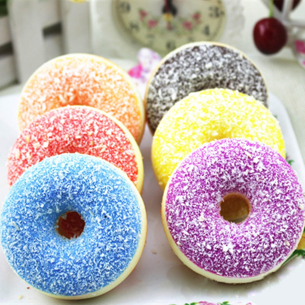 Relax toys cute squishies soft scented Squishy Squeeze Stress Reliever Soft Colourful Doughnut Scented Slow Rising Drop Shipping
