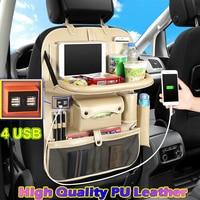 (4 USB) High Quality Leather Car Rear Seat Organizer Multi Pocket Car Seat Back Bag Car Travel Organizer with Tray for Children