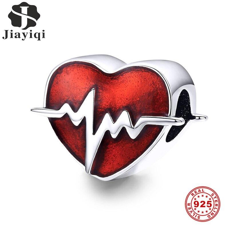 Jiayiqi, latido del corazón rojo 100%, adornos de cuentas de plata esterlina 925 para DIY, pulseras, collar, joyería de lujo para mujer, regalo del Día de San Valentín