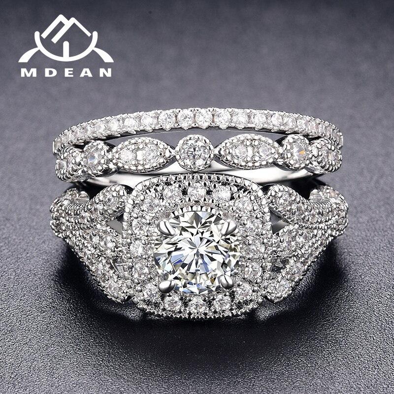 Женские комплекты обручальных колец MDEAN, белые и золотые модные украшения из фианита AAA для свадьбы, размер 6, 7, 8, 9, H063