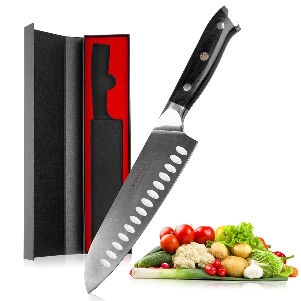 Mokithand-سكاكين مطبخ الشيف اليابانية ، 7 بوصات ، Santoku ، فولاذ عالي الكربون 1.4116 ، احترافي ، مع خشب باكا