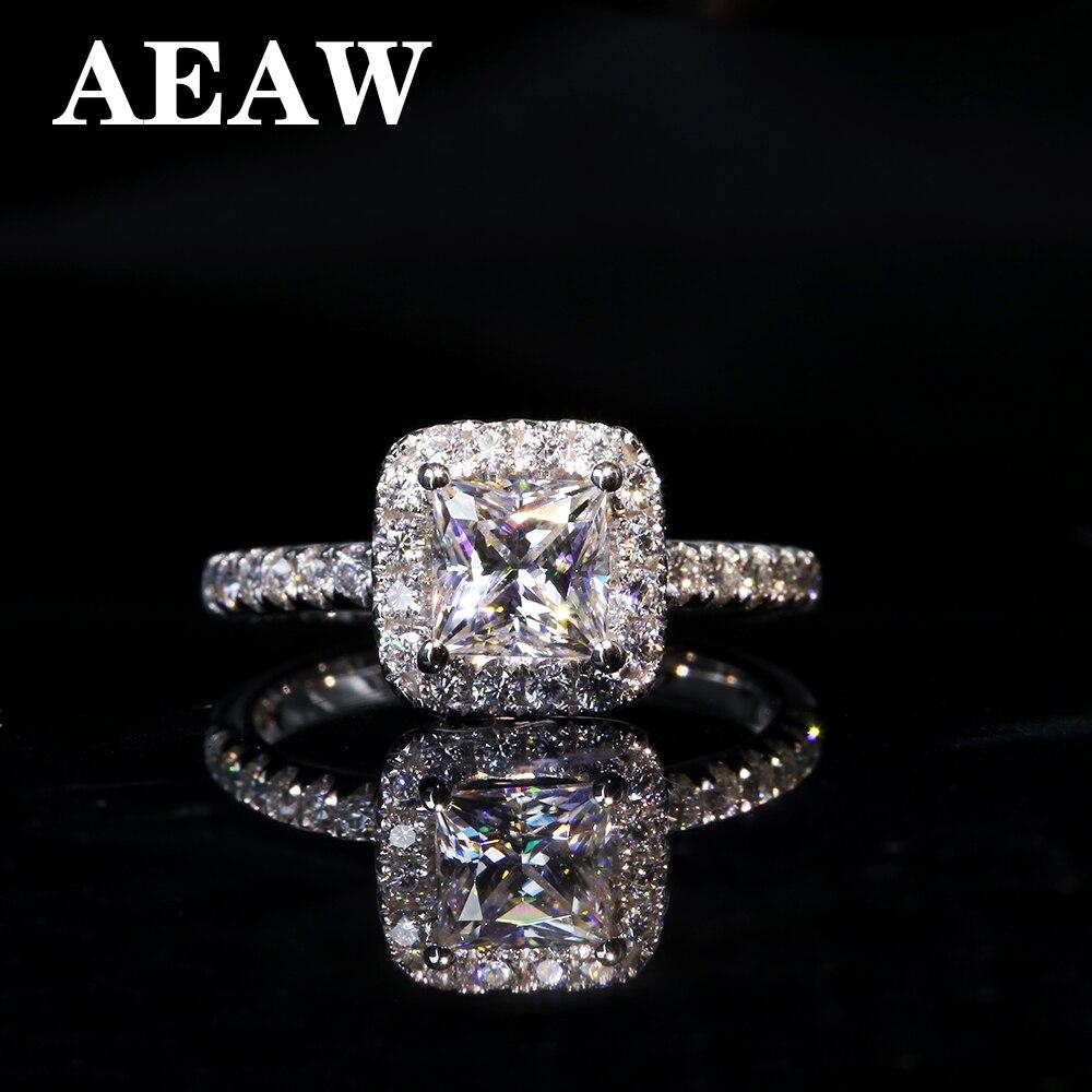 Anillo de diamante de 5mm 1ctw quilate elegante DEF Color princesa Halo compromiso boda Moissanite para mujeres en plata o oro blanco