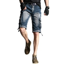 2019 Men Camouflage Cargo Shorts Summer Casual Knee Length Mens Shorts Cotton Multi-pockets Bermuda Male Ribbon Short ABZ330