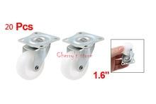 "Best Promotion Wholesale Price 20 PCS 1.6"" Single Wheel Swivel Rectangle Plate Plastic Caster White"