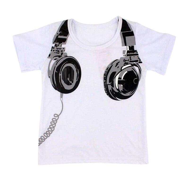 3 Colors Cute Baby Cotton T-shirt Earphone Design Infant Short Sleeve Tee Kids Tops Children Shirt Tops