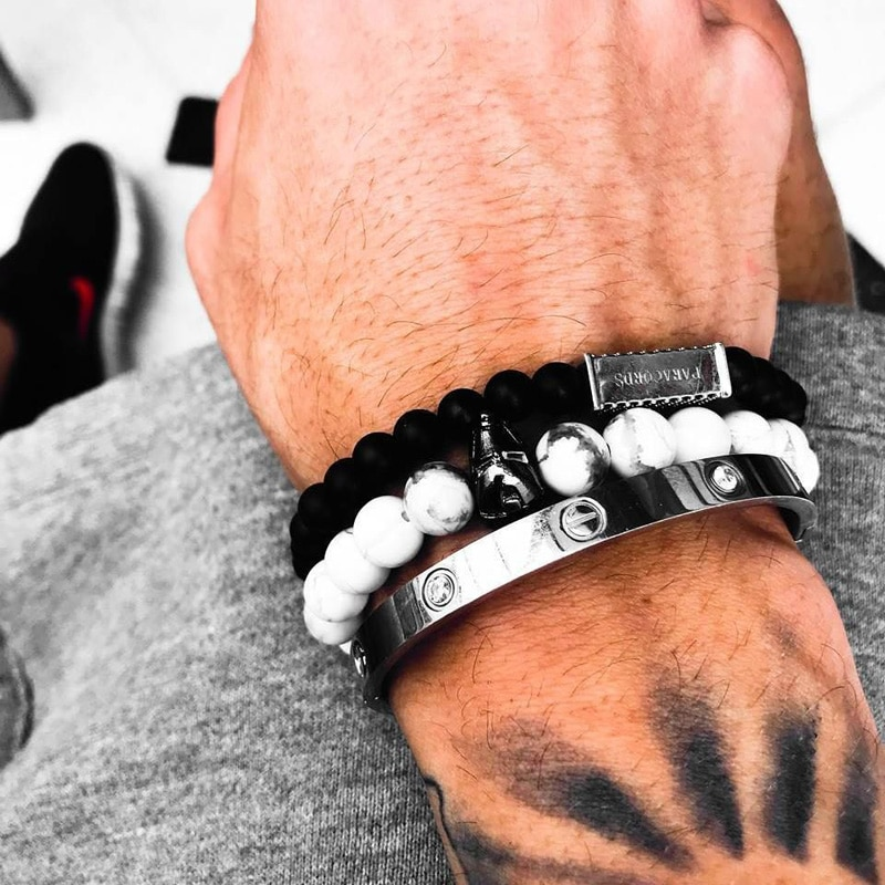Pulsera de hombre de hierro, cuentas de piedra, joyería para hombre, pulseras de dijes para mujeres, pulsera Masculina para amigos, nueva marca Branzoletki