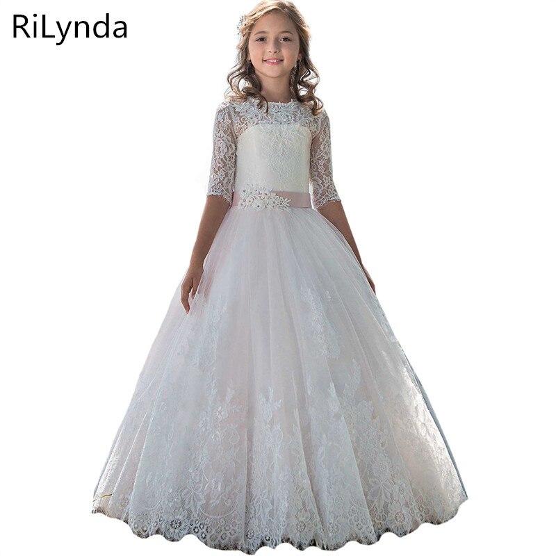 Детские платья с цветами для девочек, детские праздничные платья с блестками, кружевные сетчатые Бальные платья, платья для первого причаст...