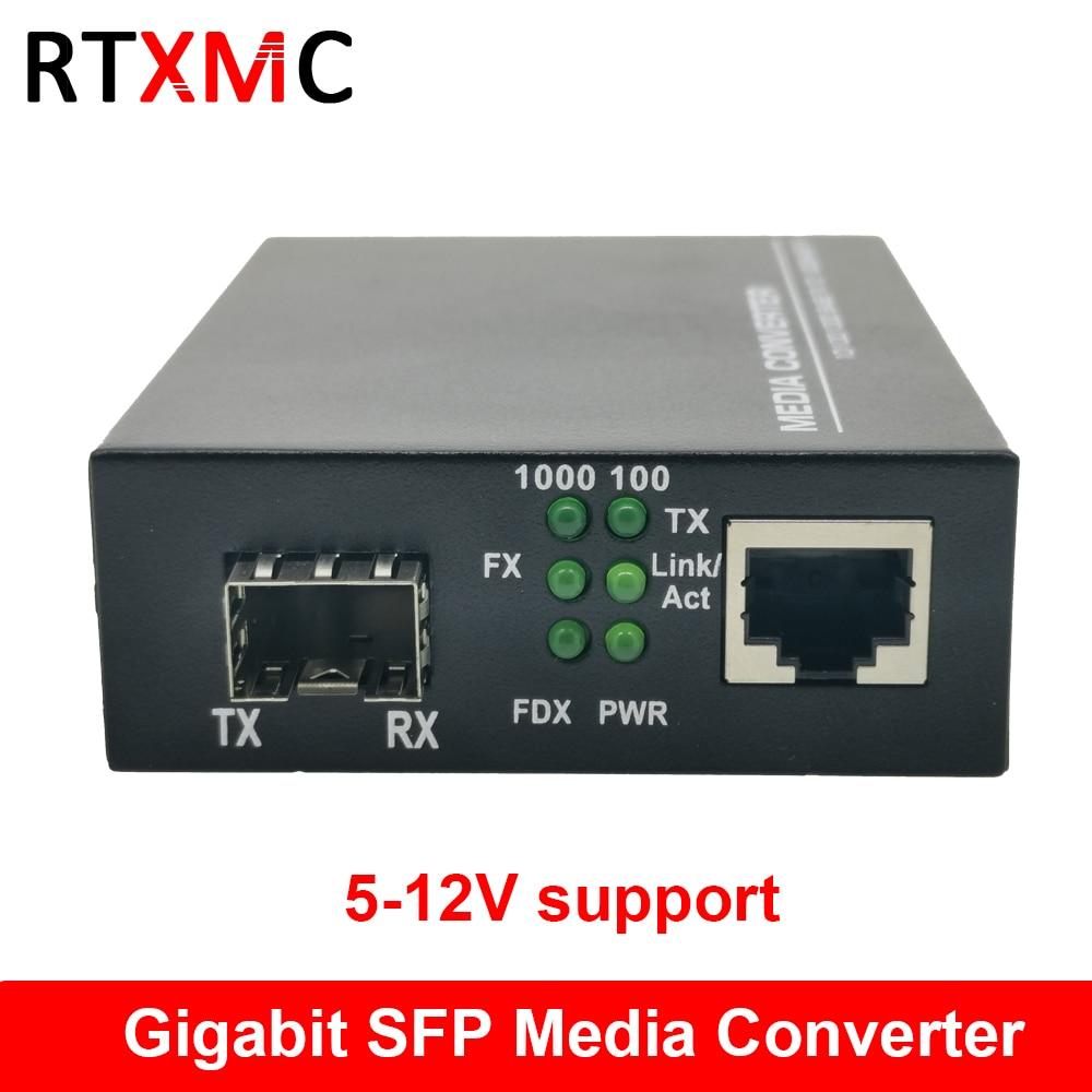 SFP волоконно-RJ45 гигабитный медиа конвертер SFP 10/100/1000 м Ethernet конвертер приемопередатчик волоконно-оптический переключатель 5-12 В поддержка