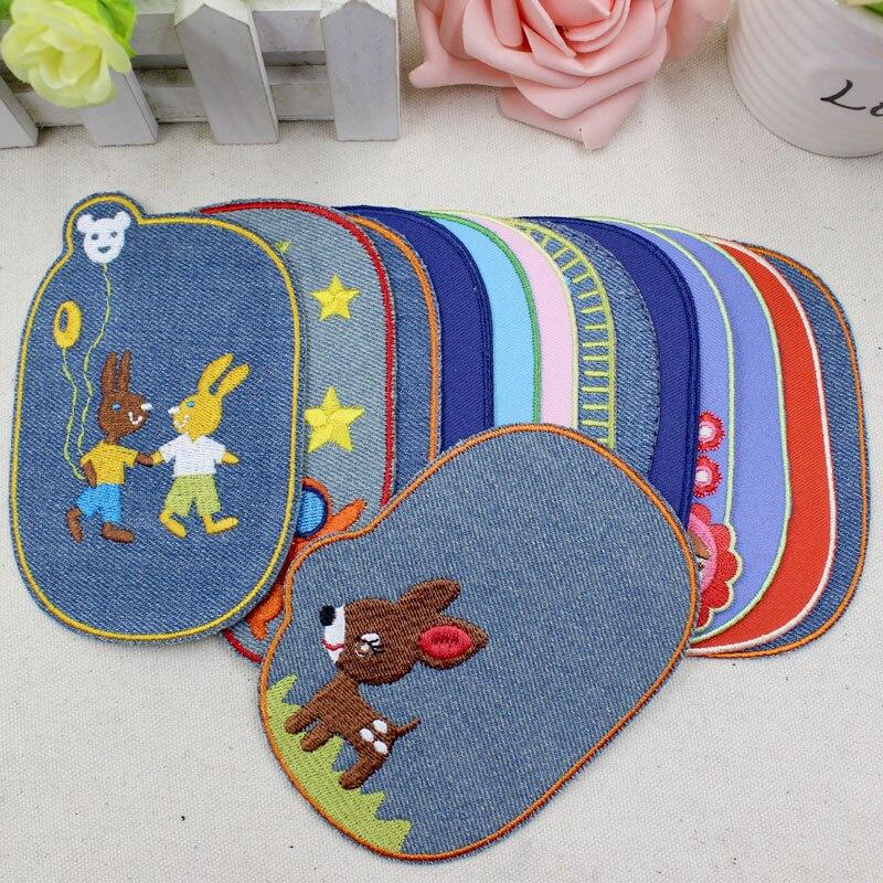 1PC bordado Jeans parche hierro en parches bordados reparación, costura codo rodilla Denim parches para Niño Accesorios de ropa DIY