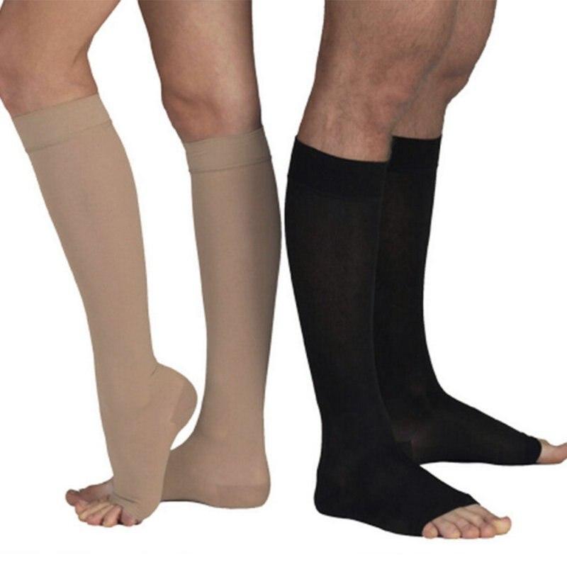 Calcetines de compresión Unisex de Punta abierta hasta la rodilla de alta calidad para hombre y mujer