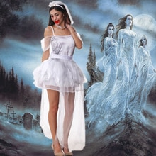 Halloween femmes Vampire Zombie Sexy soutien-gorge sans bretelles robe effrayant fantôme mariée Cosplay Costume mariée cadavre mariage Costume AZ076