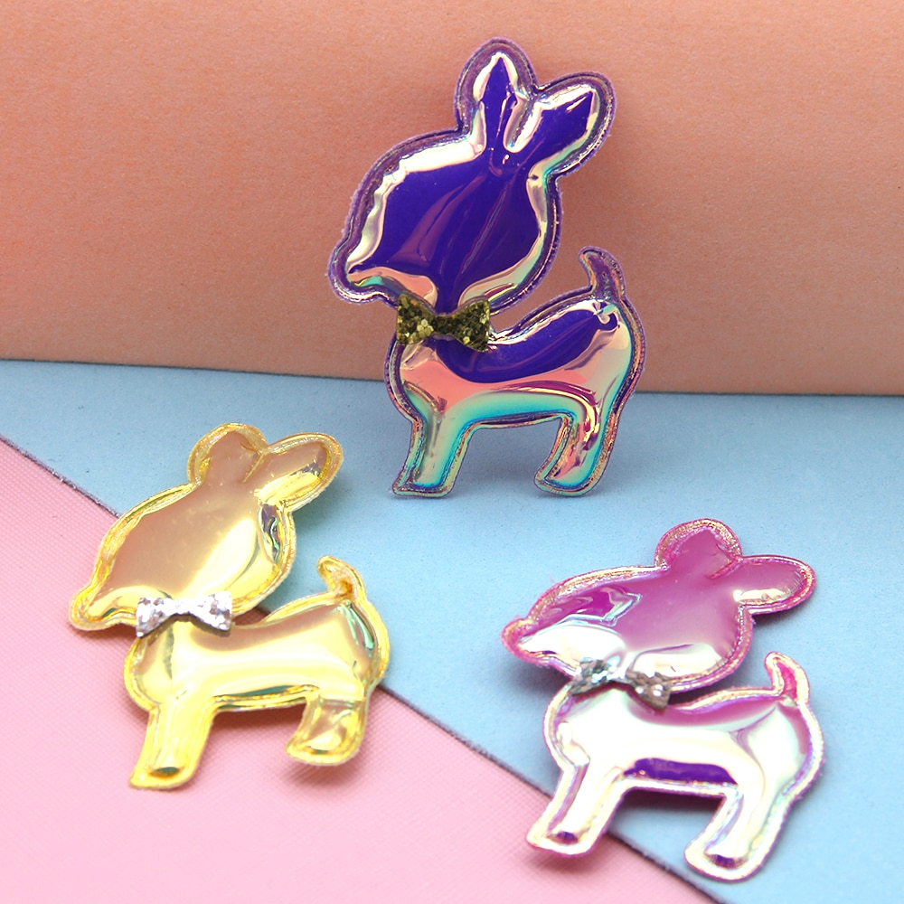 20 piezas vacaciones iridiscencia ciervo accesorios para el cabello parche para el pelo DIY bolso de mano zapatos cartera decoración, 20Yc7310