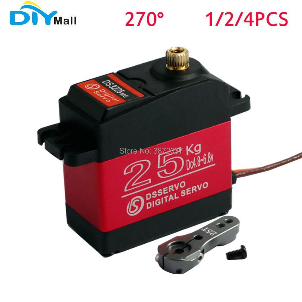 1/2/4 Uds DIYmall 270 ° 270 grados DS3225 25KG alto par Digital Servo completo de Metal Gear impermeable rojo