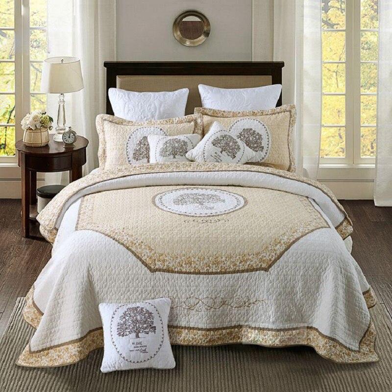 Juego de edredón de verano de Francia de CHAUSUB, 3 edredones de algodón, colcha acolchada, ropa de cama bordada, sábanas, funda de almohada, tamaño KING