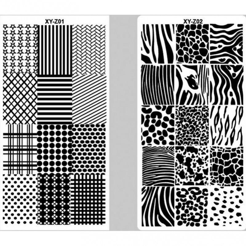 1 Pcs Nagel, Platte Geometrische Thema-Grid Streifen Form Splice Bild Platte Nail art Design Stanzen Maniküre Vorlage 0102