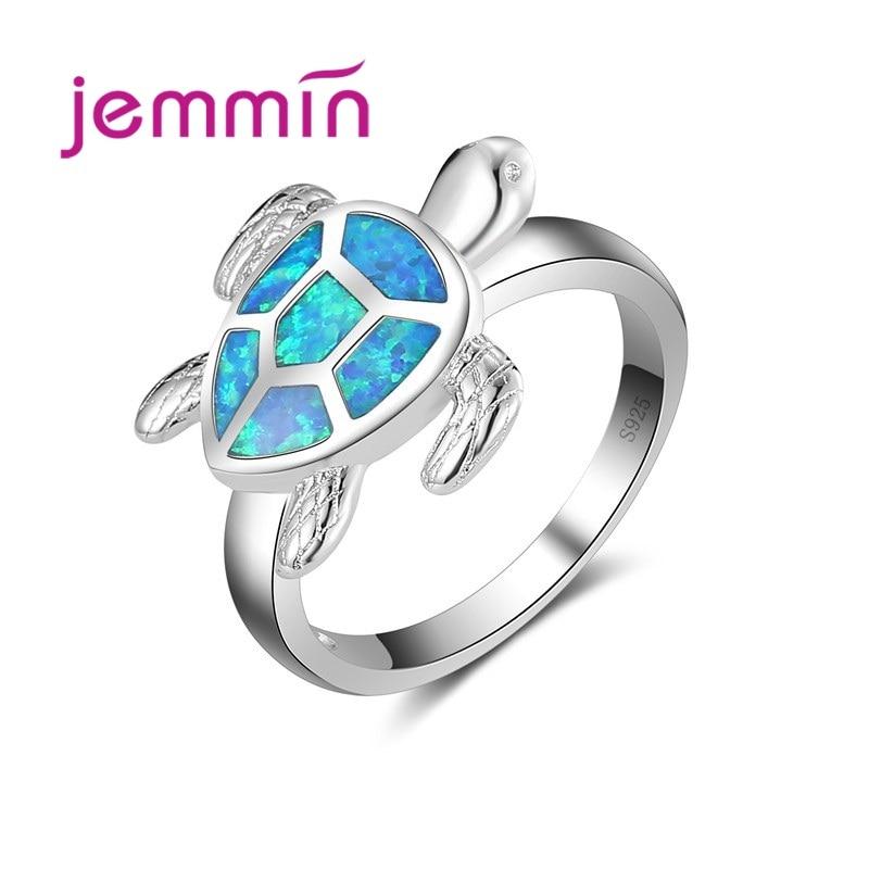 Cute Sea Turtle Shap AAA Blue Opal Ring For Women & Girl 925 Sterling Silver Jewelry Ring Party Fine Jewelry