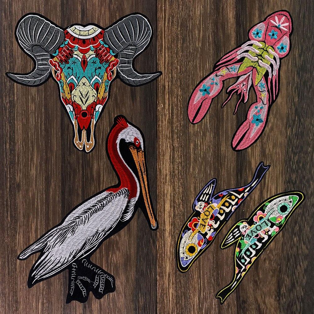 1 Juego de parche de cabra animal oveja Pelecanus pájaro langosta bordado flor amor pez apliques, parches hierro en camiseta ropa artesanal