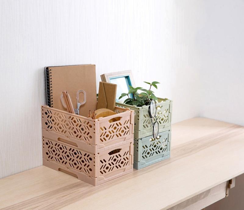 Maquiagem sundries armário de armazenamento quarto banheiro cestas de plástico armazenamento de escritório em casa oco dobrável organizador do desktop