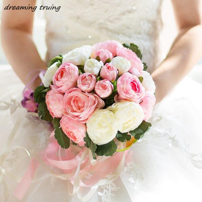 5 colores Ramos De boda 2018 flores De novia hechas a mano regalos De boda ramo De novia accesorios para matrimonio