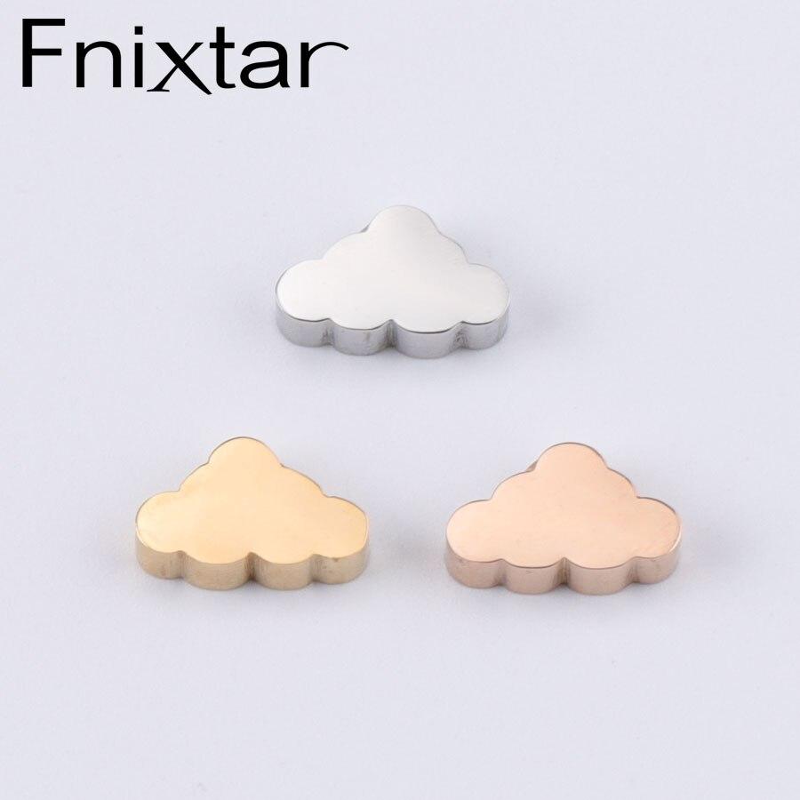 Fnixtar espelho polido grânulo de aço inoxidável 1.8mm buraco pequena nuvem encantos ouro cor ouro rosa 6*10mm 20 peças/lote