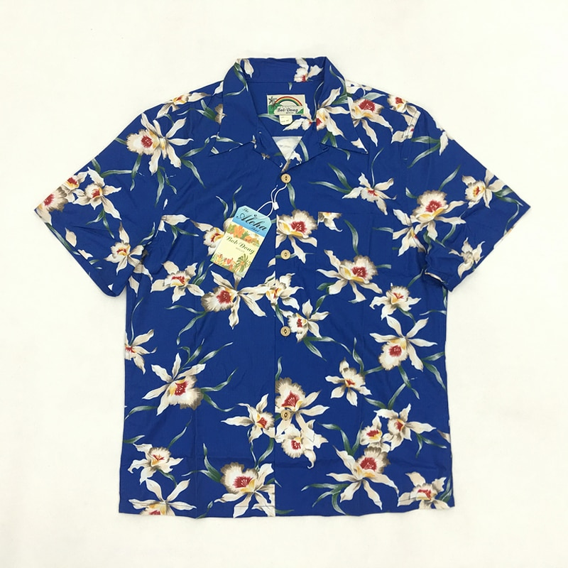 Camisas hawaianas con estampado Floral intrincado de BOB DONG cuello redondo azul relajado