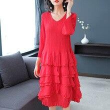 Plus Size Dress Autumn Women V Neck Ruffles Fashion Ball Gown Stretch Miyake Pleats Cake Midi Dresses for women weight 45-75kg