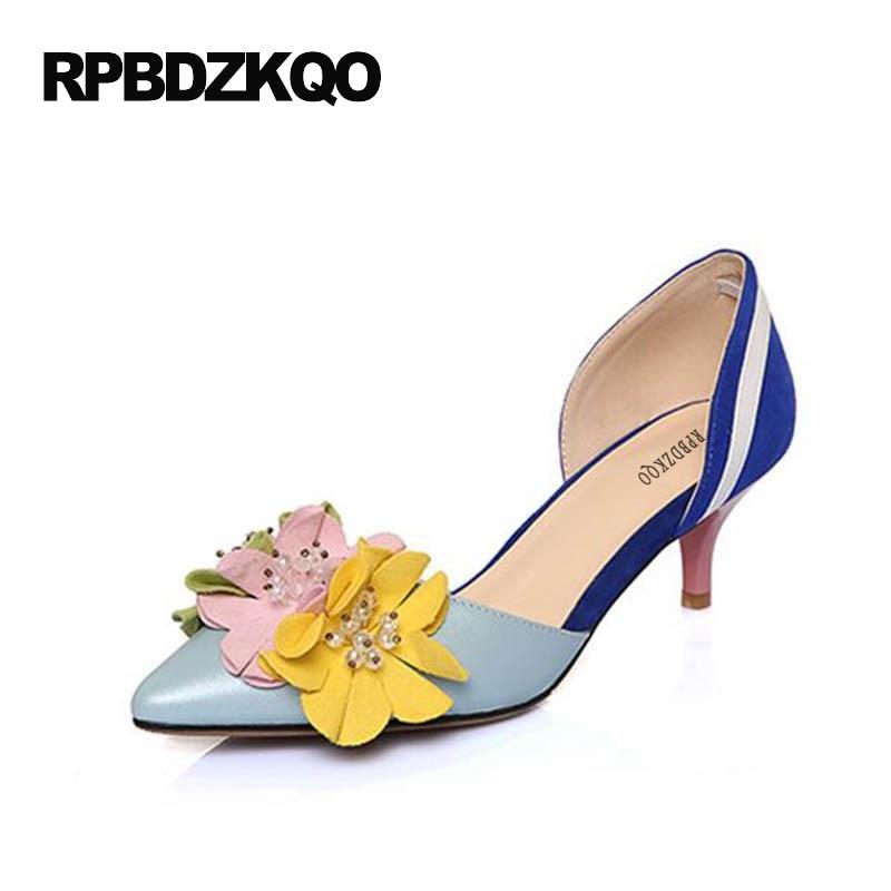 Mujer Zapatos Dedo Punteado Pasarela Tacones Altos Ante Floral Dorsay Verano Sandalias Flores Vestir Delgado Zapatillas Azul Real Verano